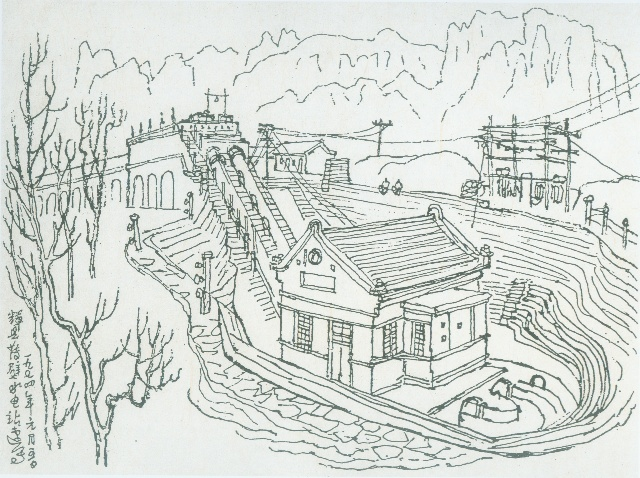 手绘彩绘素描山水画
