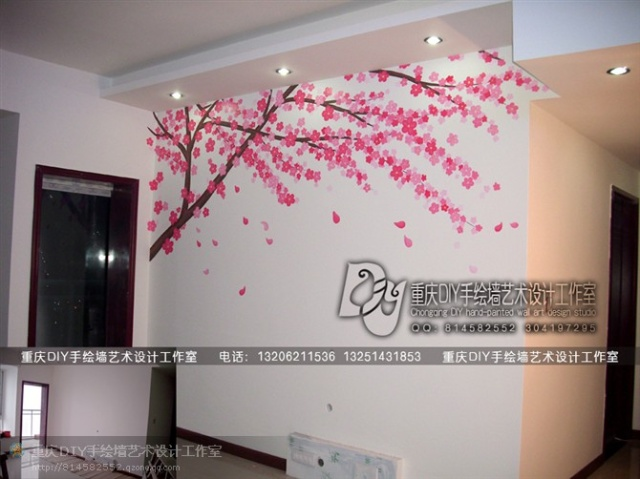 【重庆手绘墙·diy墙绘工作室】大渡口·电视墙梅花