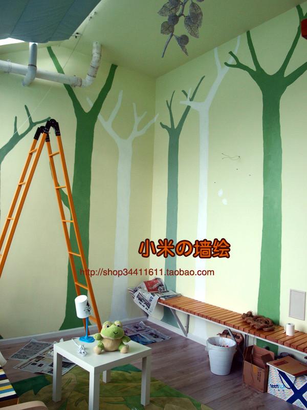 绵阳 久远花园客户阳光房 简约森林墙绘——小米墙绘