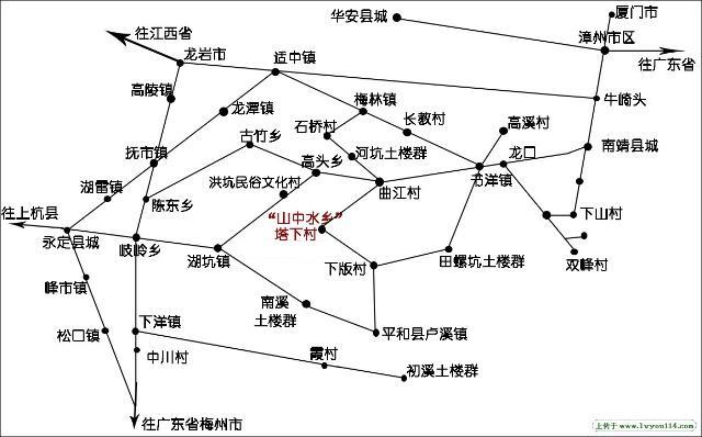 福建土楼旅游地图(图片来自:www.lvyou114.com)
