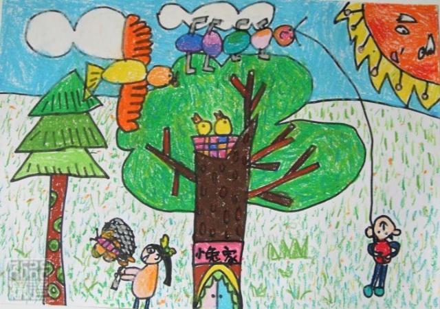 扑蝴蝶 儿童画-动物里的小动物儿童画/扑蝴蝶简笔画