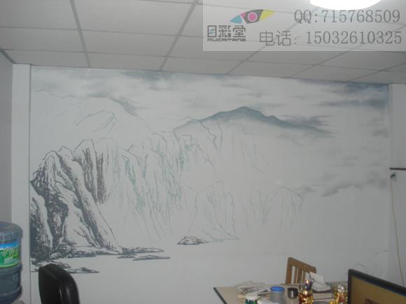 石家庄手绘墙作品----山水风景画