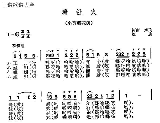 看社火-曲谱歌谱大全-搜狐博客