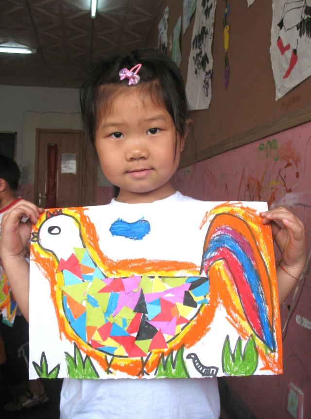 美丽的大公鸡----拼贴画