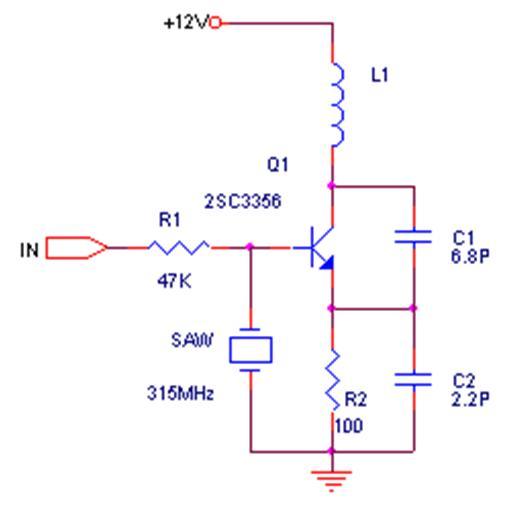 315遥控接收发射电路图:以下两个电路为常见的发射机电路,由于使用了声表器件,电路工作非常稳定,即使手抓天线、声表或电路其他部位,发射频率均不会漂移,和图一相比,图二的发射功率更大一些,可达200米以上。 图二 接收机可使用超再生电路或超外差电路,超再生电路成本低,功耗小可达100uA左右,调整良好的超再生电路灵敏度和一级高放、一级振荡、一级混频以及两级中放的超外差接收机差不多。然而,超再生电路的工作稳定性比较差,选择性差,从而降低了抗干扰能力。下图为典型的超再生接收电路。  超外差电路的灵敏度和选择性都
