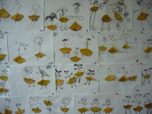 银杏树叶粘贴画-穿裙子的小女孩