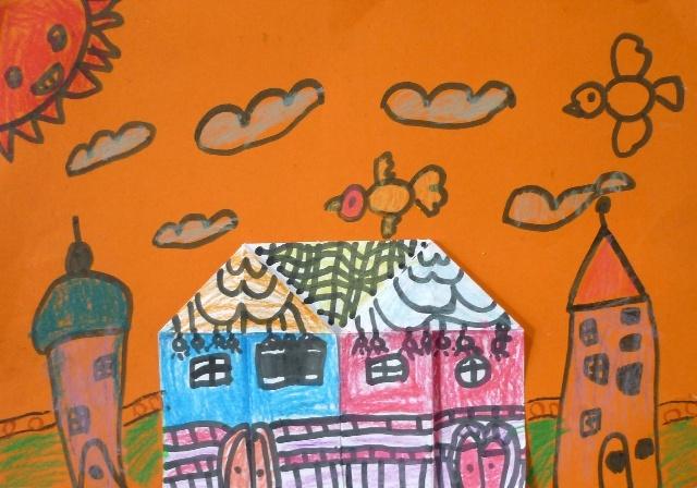 折纸小房子:这个课题我很喜欢,手工与绘画结合的课孩子们喜欢