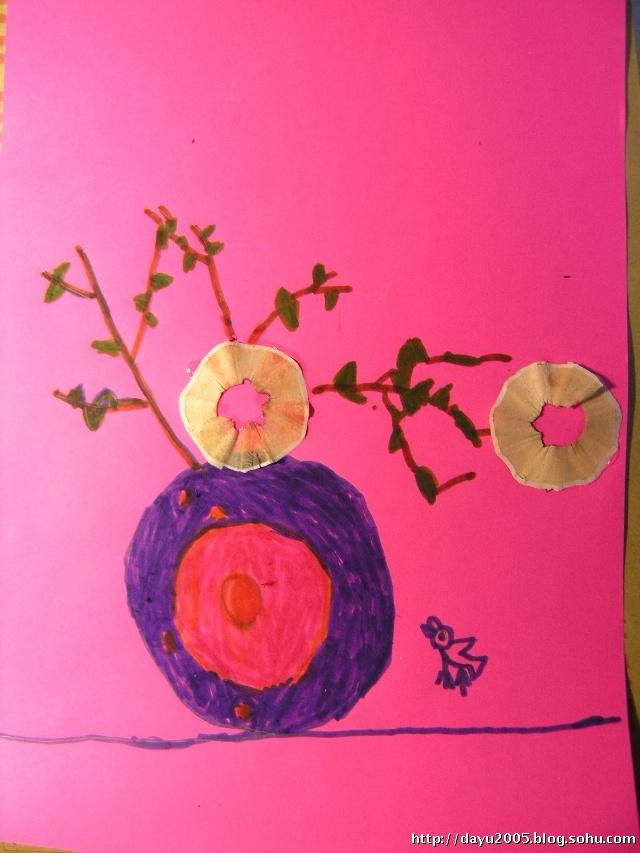 手工 铅笔屑装饰画之花瓶