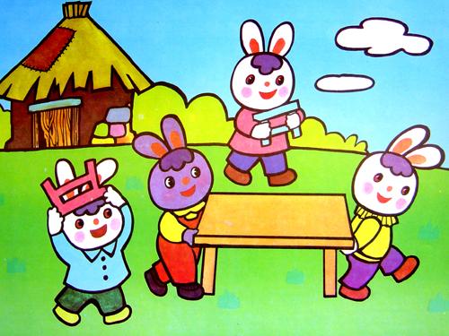 卡通小白兔对话图片