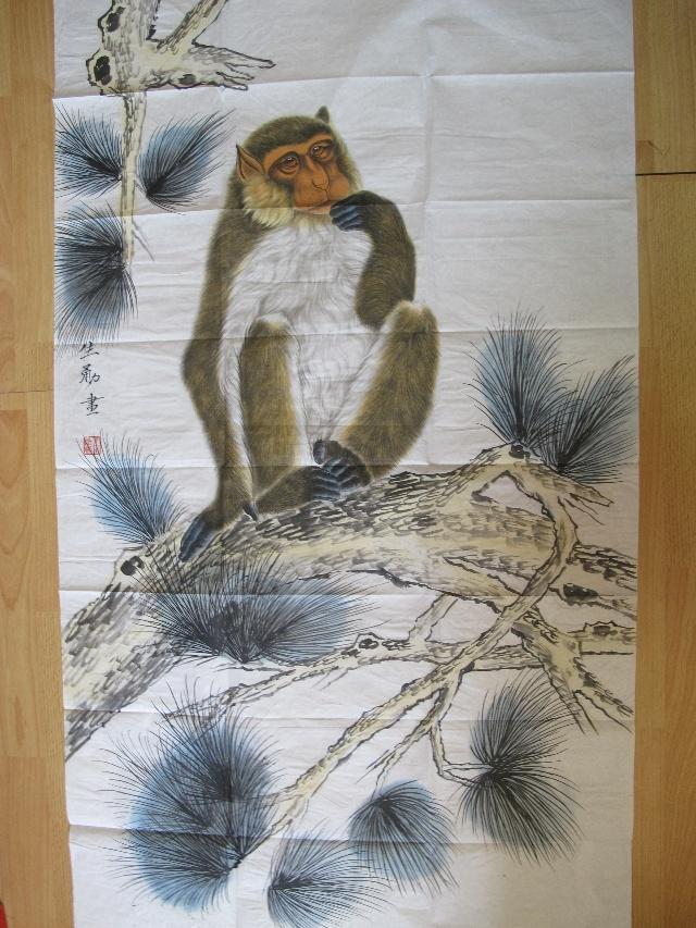 猴子工笔画 工笔画猴子献寿图 工笔画白描猴子