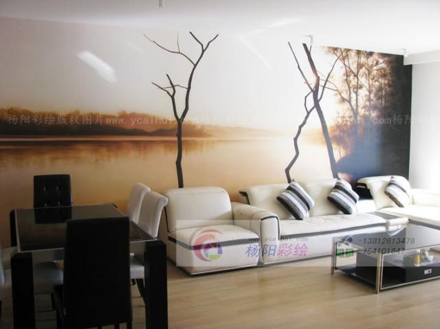 客厅餐厅手绘墙设计-现代时尚风格风景壁画
